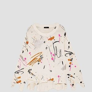 Zara Paint Splatter Deconstructed Sweater